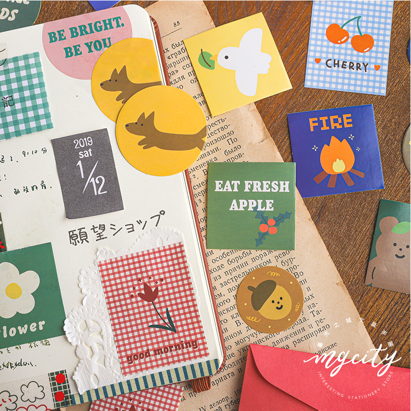 40 pcs Bear biscuit series Journal Decorative Stickers set Scrapbooking Stick Label Diary Stationery Album Cute envelope sticker