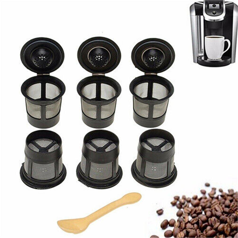 6 uds., cápsulas de café reutilizables, taza con cuchara, cápsula de café negra Recargable, filtro de relleno, regalo