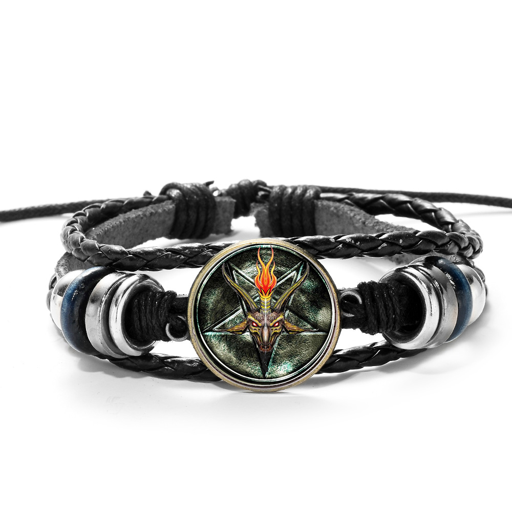 SONGDA Hot Sale Red Goat Head Braided Bracelet Men Retro Bronze Pentagram Pattern Leather Bracelets Bangle Satanism Gothic Style 2