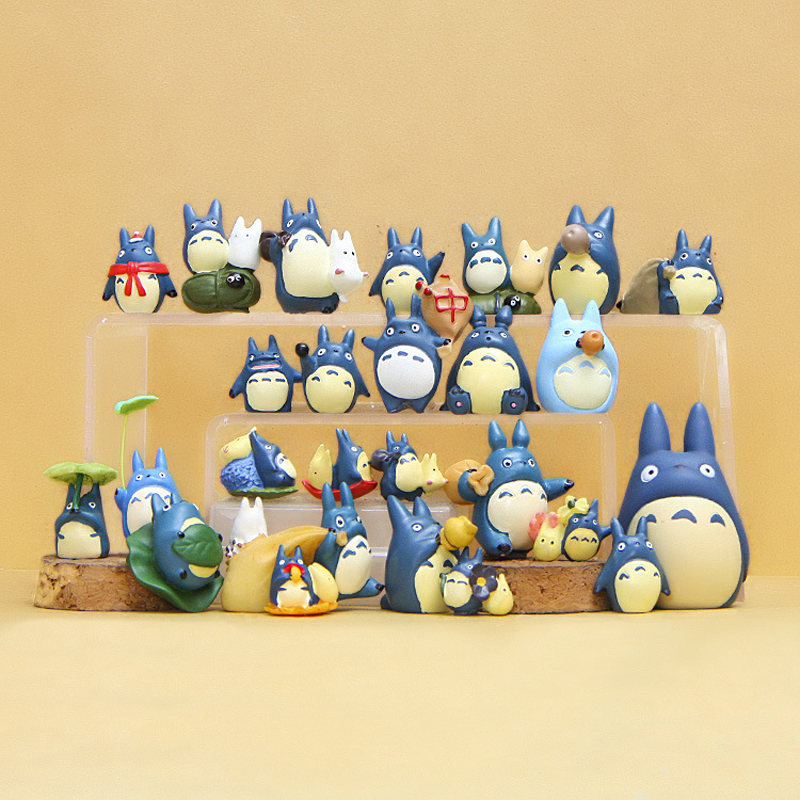 1pcs 20 Style Blue Totoro Figure Toys DIY Miyazaki My Neighbor Totoro Resin Action Figures Classic Toys Micro Landscape For Kids