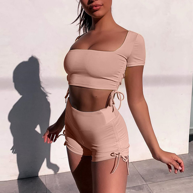 Fashion Womens Sexy Solid Vest Sports Fitness Set Elastic Tops+shorts 2 Piece Set Women Clothing Summer Tracksuit Sportwear #3 1