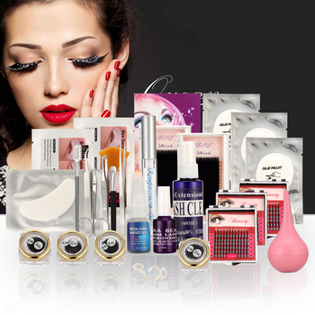 GOLD Case False Mink Eye Lashes Individual Eyelash Extension Tool Glue Removal/Mascara/ Flase Lashes Glue/ Cleanser/Debonder Kit