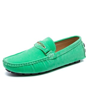 Image 5 - AGSan Summer Men Loafers Genuine Leather Casual Shoes Fashion Slip On Driving Shoes Breathable Moccasins Green Suede Loafers