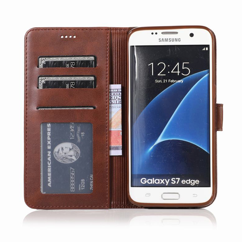 Cover Case For Samsung Galaxy S7 Edge Luxury Magnet Flip Stand Wallet Plain Leatehr Phone Cases For Samsung S 7 S7edge Bag Coque