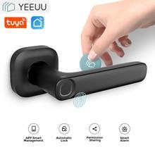 YEEUU R1 Smart Door Lock Fingeprint / NEC Card / Phone APP With Latch Gateway Alexa Google Hom Easy Replacement 99% Old Lock