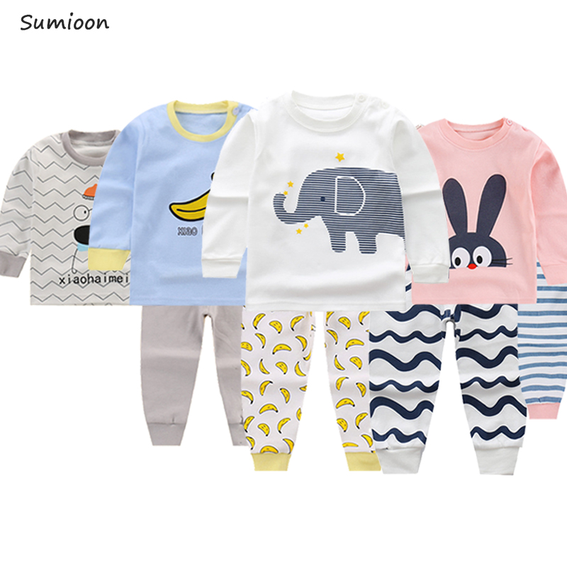 2019 Autumn Children Pajamas Animal Cartoon Sleepwear Kids Clothes Set Winter Pyjamas Kids Toddler Baby Sleepwear For Boys Girls