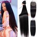 30 дюймов прямые волосы пряди с закрытием бразильские волосы категории Virgin 3 / 4 пряди с закрытием, человеческие волосы для наращивания, а заст...