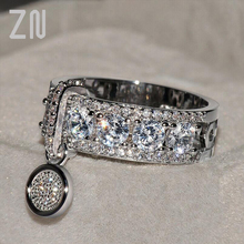 ZN New Vintage Rose Gold Color Filled Wedding Rings For Women Fashion Jewelry Luxury White Zircon Engagement Ring zn new white crystal lace rings for women wedding engagement party beautiful rings rose gold fashion jewelry gift