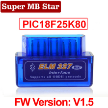 סופר מיני ELM327 Bluetooth V1.5 ELM 327 גרסה 1.5 עם PIC18F25K80 שבב OBD2 OBDII עבור אנדרואיד מומנט רכב קוד סורק