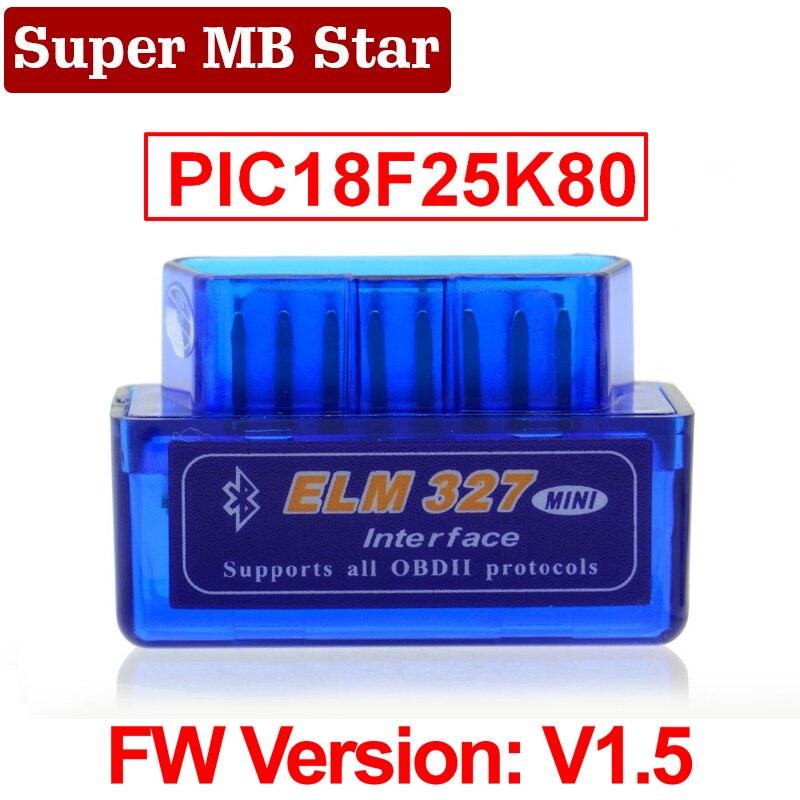 Super MINI ELM327 Bluetooth V1.5 ELM 327 версия 1,5 с чипом PIC18F25K80 OBD2 OBDII для Android Torque Автомобильный сканер кода