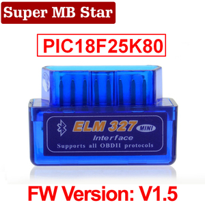 Image 1 - Super MINI ELM327 Bluetooth V1.5 ELM 327 Version 1.5 With PIC18F25K80 Chip OBD2 OBDII for Android Torque Automotive Code Scanner