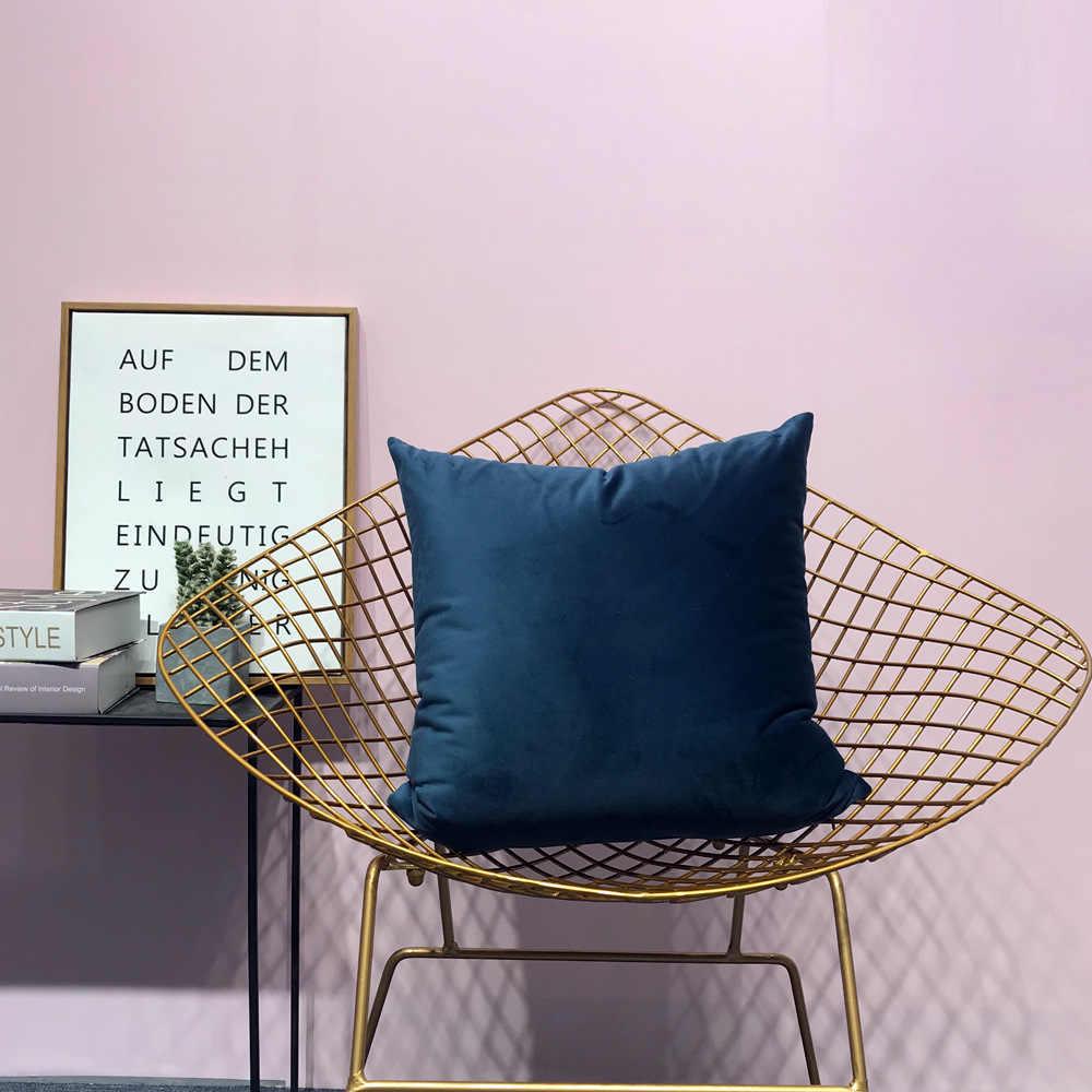 กำมะหยี่หรูหราสีชมพูเบาะครอบคลุมหมอนหมอนสีเหลืองสีขาวสีดำสีเทาหน้าแรกตกแต่งโซฟาโยนหมอนเก้าอี้