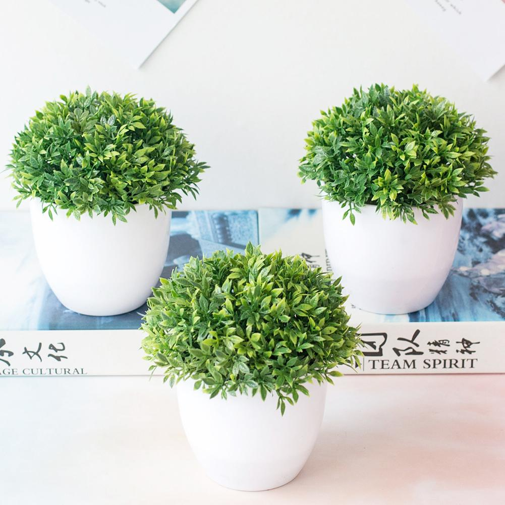 40# New 1Pc Artificial Plant Fake Flowers Potted Ornaments Grass Ball Miniascape For Wedding Party Home Table Bonsai Decor