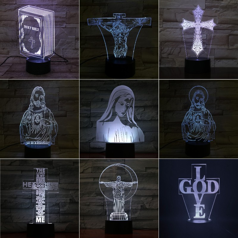 VCity 3D Lamp Night Light Jesus Blessed Virgin Mary Christian Bible Crucifix 3D Led Lighting Bedside Lamp Lighting Pray Lights