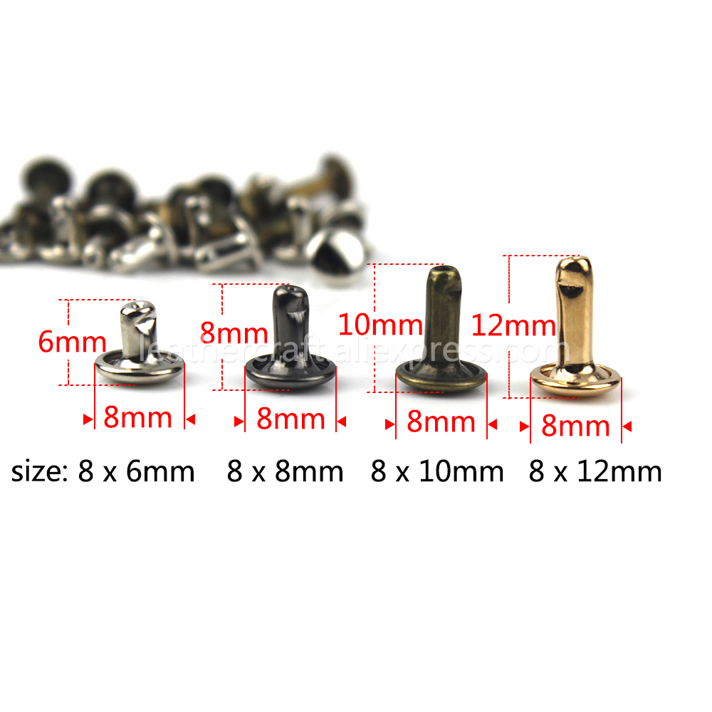 100sets 6mm 8mm Metal Double Cap Rivets Studs Round Rapid Rivet for Leather Craft Bag Belt Garments Hat Shoes Pet Collar Decor in Garment Rivets from Home Garden