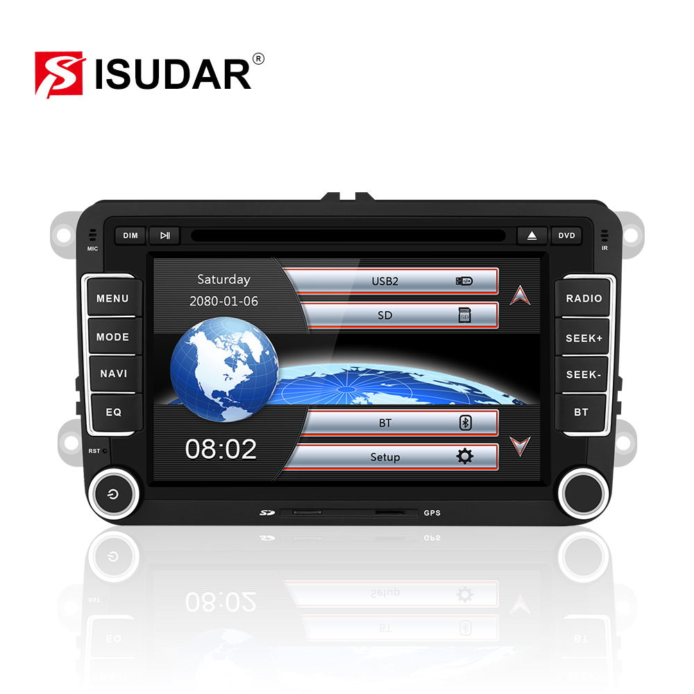 Isudar <font><b>Car</b></font> Multimedia player GPS 2 Din Autoradio For <font><b>Seat</b></font>/ <font><b>Leon</b></font>/<font><b>Altea</b></font>/ Toledo/VW/Skoda FM Radio Map Ipod Capacitive Screen image