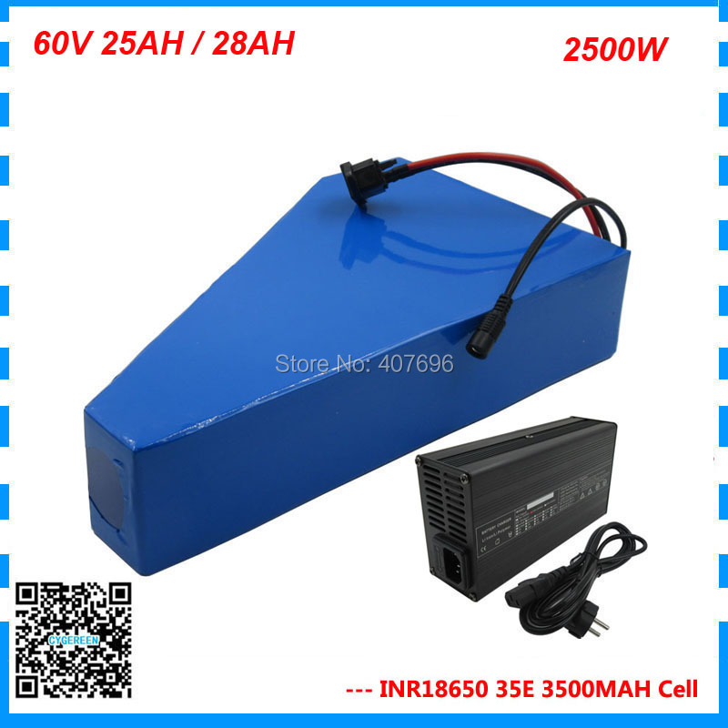 <font><b>60V</b></font> 24.5AH lithium ebike battery <font><b>60V</b></font> 25AH triangle battery 60 V AKKU use <font><b>samsung</b></font> 3500mah cell 50A BMS with free bag 2A Charger image