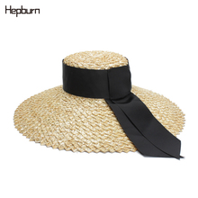 2019 Summer Hat Flat Women High end Wide side Oversized Sun Black Ribbon Beach Cap Brim Boater Kentucky Derby