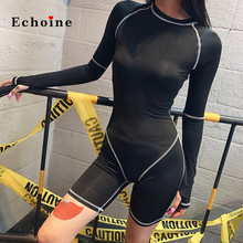 Echoine Sport Playsuit Sexy Skinny Rompers Women Side Stripe Zippers Elastic Short Pants Clothes 2019 Trendy Running Jumpsuits