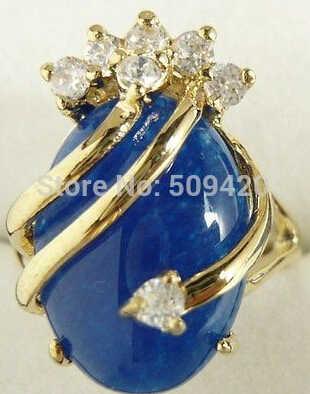 จัดส่งฟรี >>> สวย 18KGP Blue Jade แหวน 7 8 9 AAA