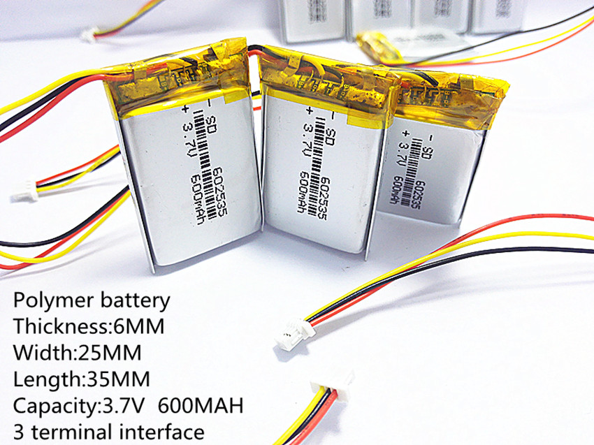 3 thread Polymer lithium <font><b>battery</b></font> 602535 <font><b>3.7v</b></font> <font><b>600mah</b></font> can be customized wholesale CE FCC ROHS MSDS quality certification image