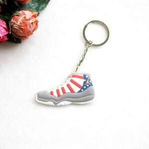 Image 4 - Voiture porte clés Mini Silicone Jordan 11 porte clés breloque pour sac femme hommes enfants porte clés cadeaux Sneaker clé accessoires chaussures