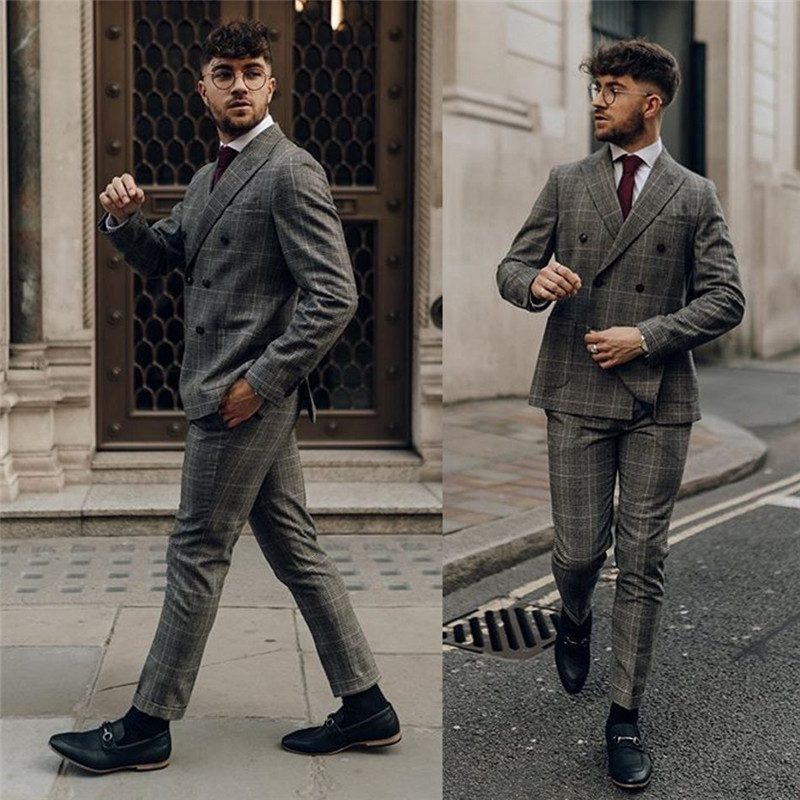 New Grey Mens Suits 2 Piece (Coat+Pants) Peaked Lapel Terno Masculino Business Men Suit Custom Made
