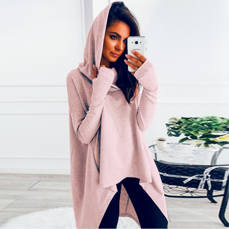 Solid Color Irregular Women's Sweatshirt With Hood 2019 Autumn Long Sleeve Oversized Hoodie Casual Women Pullover Long Hoodie