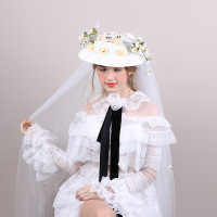 Vintage Wedding Hats Flowers Women Net Bridal Hats White Wedding Accessorie Brides Fascinator Sinamay Wedding Birdcage Veil