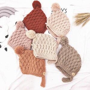 Outono inverno crianças recém-nascidos do bebê meninos meninas chapéu de lã quente bolas de pele sólida pompom quente gorro boné 3-24months