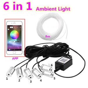 Волоконно-оптический ленточный RGB светодиодный светильник окружающего света с Bluetooth управлением для салона автомобиля атмосферный светиль...