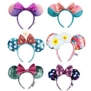 1 шт., большие уши Минни Маус, повязка на голову, блестки, уши, костюм, повязка на Хэллоуин, косплей, плюшевый подарок, плюшевая кукла мышка, веч...