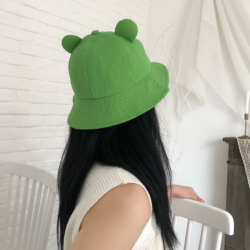 Hat Women Sweet Cute Frog Smiling Face Embroidery Fisherman Hat Autumn Summer Sunshade Student Bucket Hat Hair Accessories