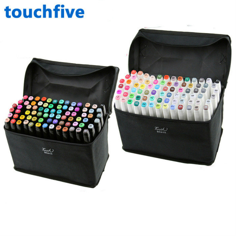 TouchFive Marker Colors Choose Brush Pen Alcoholic Oily Based ink Art Marker For Manga Dual Headed Sketch Markers