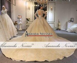 Image 2 - Amanda Novias 2020 brand gold wedding dress real work high quality dubai wedding dresses not with veil