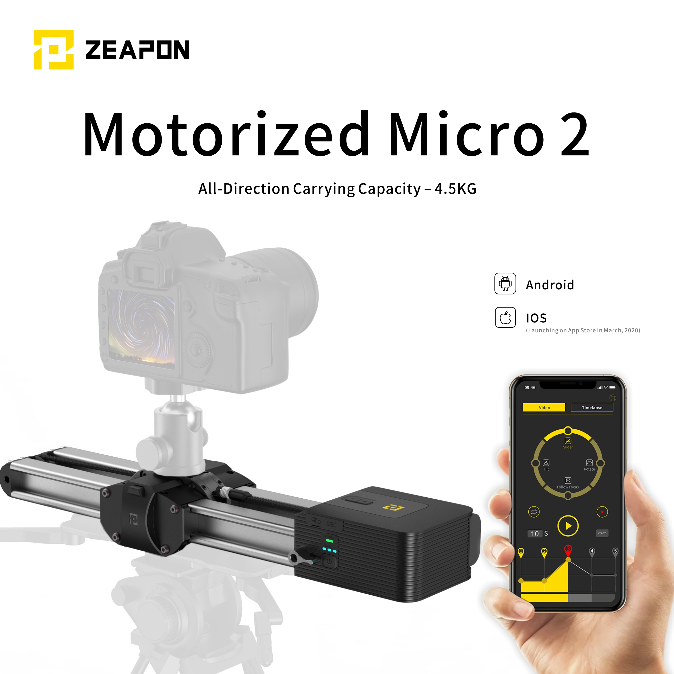 PRESALE Zeapon Motorized Micro 2 Camera Rail Slider Aluminum Alloy Double Distance Track Slider For DSLR And Mirrorless Camera