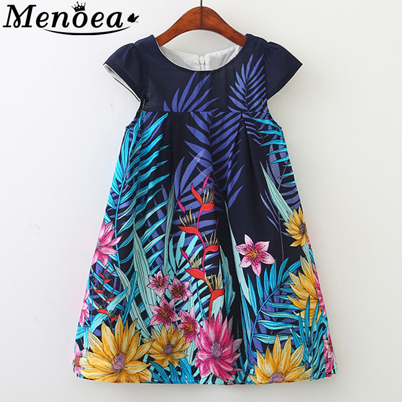 Menoea Girls Dress 2019 European And American Style Children Sleeveless Flore Leaf Printed Princess Dress 3-8Y Baby Kids Dress