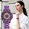 SANDA  часы с вращающимся циферблатом  женские  топ  Роскошные  с кристаллами  женские часы  30 м  водонепроницаемые  японские  для движения  плат...