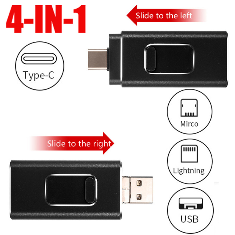 2019 New IOS Usb Flash Drive For IPhone/iPad /Android Phone TYPE C USB Stick For IPhone 6 7 8 X XS XR Pendrive 128GB Disk On Key