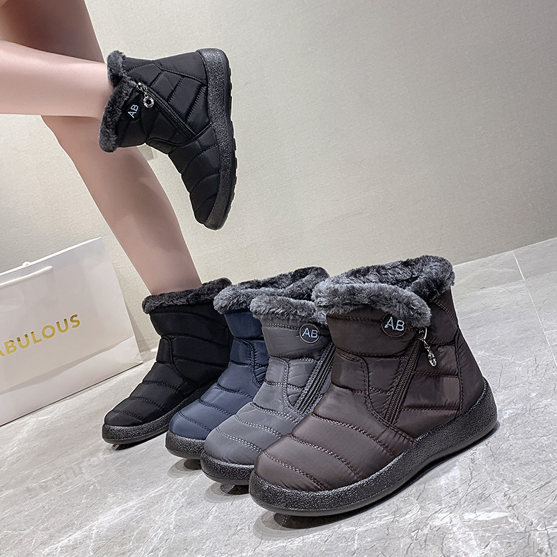 Winter Boots Women Ankle Boots Cotton Fabric Femmes Bottes Plush Shoes Ladies Booties Waterproof Shoes Buty Damskie