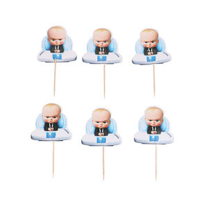 Image 4 - 24pcs Boss Baby Cupcake Toppers  Candy Bar Pick with Bamboo Birthday Party Supplies Kids Baby Shower Decorations