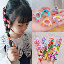 Oaoleer 10 Pcs Cute Hair Accessories for Baby Girls Candy Color Flower Fruit Scrunchies Holder Lovely Elastic Hair Band Rope Tie