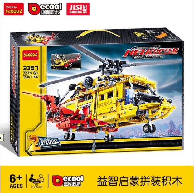 DECOOL TECHNIC 3357 CITY Rescue Helicopter 2IN1 Aircraft Plane Model Building Blocks Bricks Toys For Children Gifts lepinly 9396Blocks   -