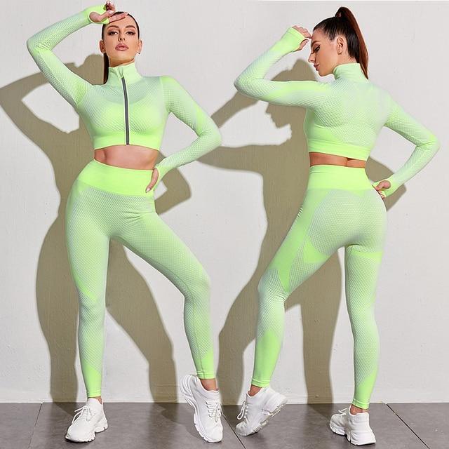 2/3PCS Seamless Women Yoga Set Workout Sportswear Gym Clothing Fitness Long Sleeve Crop Top High Waist Leggings Sports Suits 5