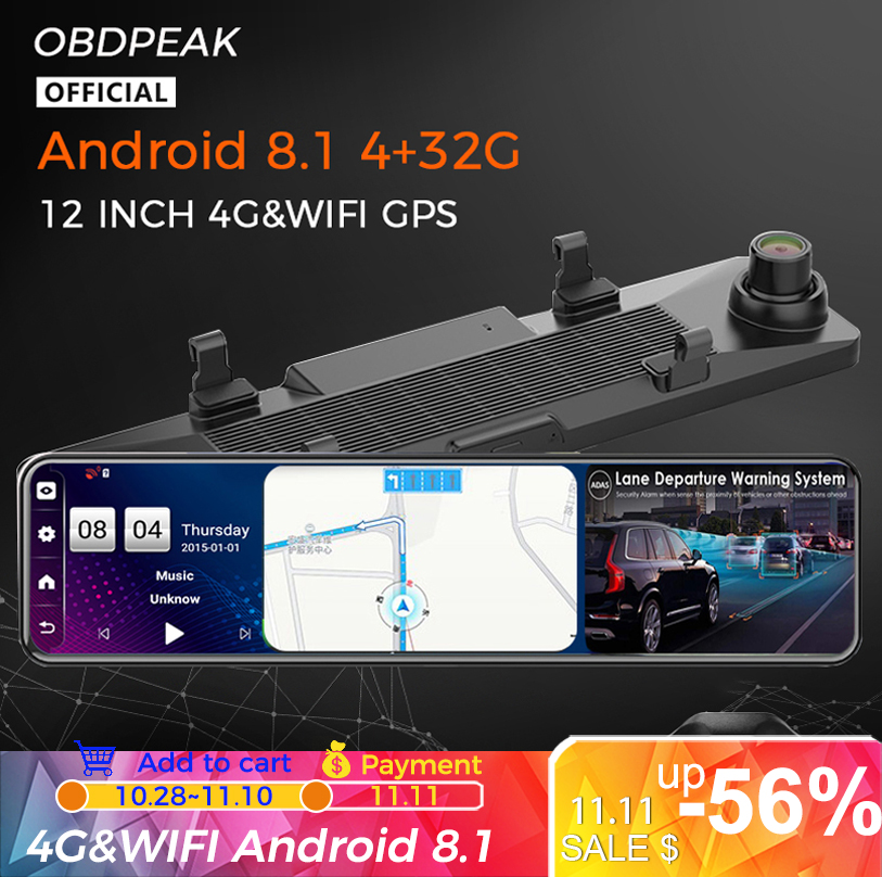 Android 8 1 4G 32G 4G 12 Inch Car Rearview Mirror Stream Media GPS Navi Dash Cam Dual 1080P Camera Car Dvr ADAS Super Night