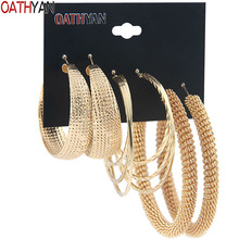 OATHYAN 3 Pairs/Set Classic Oversize Gold Color Metal Hoop Earrings Set Mix For Women Round Big Circle Earring Statement Jewelry oathyan 6 pairs set classic round hoop earrings for women party jewelry punk small oversize big circle earring set ladies gifts