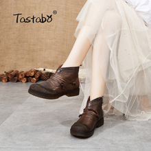 Shoes Retro Women's Boots Handmade Tastabo Brown Zipper Black Casual-Style Genuine-Leather