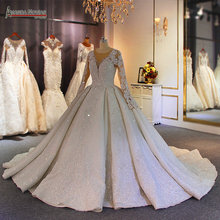 robe de mariee 2020 full pearls wedding dress with lace sleeves