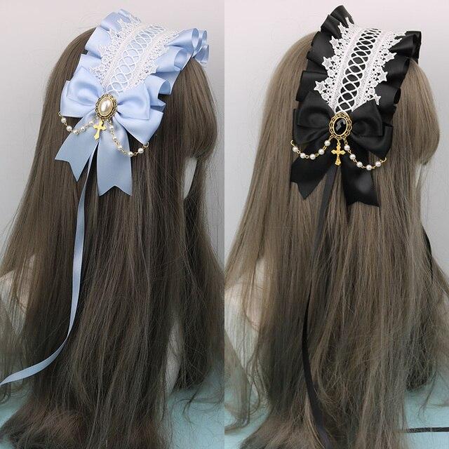 Japonês macio irmã lolita laço headdress doce selvagem kc faixa de cabelo grampo lateral acessórios para o cabelo handwork headdress