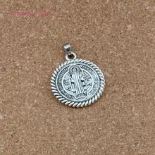 20pcs/lots Antique silver Saint St Benedict de Nursia Medal Dangle Charm Beads Fit necklace DIY Jewelry 31x41.7mm A-556a